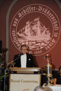 Bruder Jan Oltmann spricht von Handel, Schifffahrt und Gewerbe